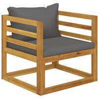 vidaXL tömör akácfa kerti szék sötétszürke párnákkal
