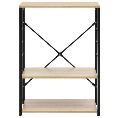 vidaXL fekete-tölgyszínű forgácslap mikrosütő szekrény 60x39,6x79,5 cm