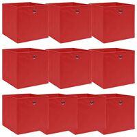 vidaXL 10 db piros szövet tárolódoboz 32 x 32 x 32 cm