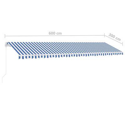 vidaXL kék és fehér kézzel kihúzható LED-es napellenző 600 x 300 cm