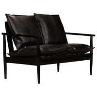 vidaXL fekete valódi bőr és akácfa kétszemélyes kanapé