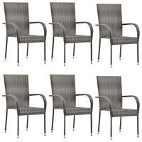 vidaXL 6 db szürke rakásolható polyrattan kültéri szék