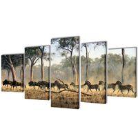 Nyomtatott vászon falikép szett zebrák 200 x 100 cm