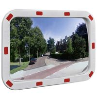 Téglalap alakú konvex közlekedési tükör fényvisszaverőkkel 40 x 60 cm