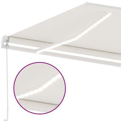 vidaXL krémszínű kézzel kihúzható LED-es napellenző 300 x 250 cm