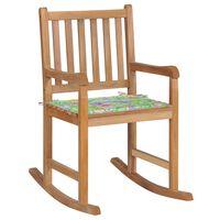 vidaXL Rocking Chair with Leaf Pattern Cushion Solid Teak Wood (44992+314065)