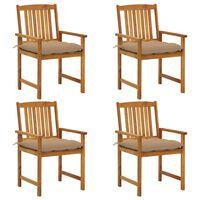 vidaXL 4 db tömör akácfa rendezői szék párnával