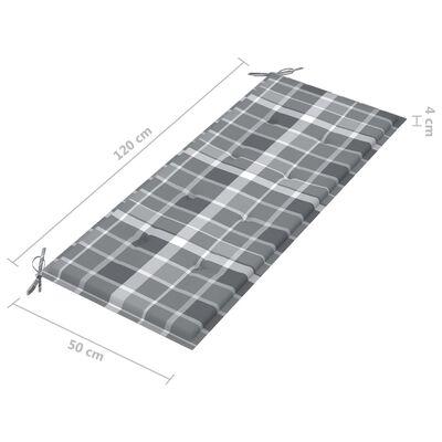 vidaXL tömör tíkfa kerti pad szürke kockás párnával 240 cm