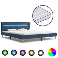 vidaXL kék LED-es szövetágy memóriahabos matraccal 160 x 200 cm