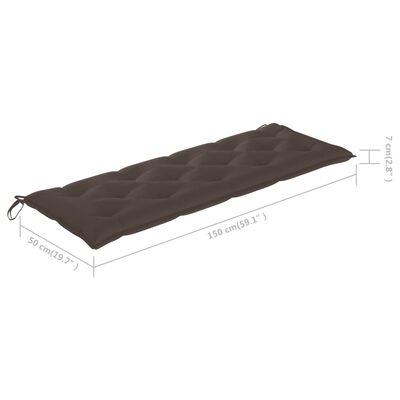 vidaXL tömör tíkfa Batavia pad tópszínű párnával 150 cm