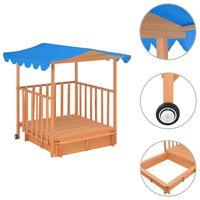 vidaXL kék fenyőfa gyermekjátszóház homokozóval UV50