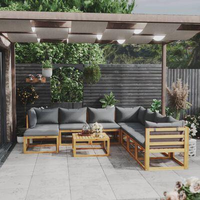 vidaXL 9 részes tömör akácfa kerti ülőgarnitúra párnával