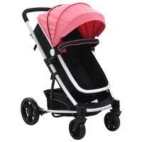vidaXL rózsaszín és fekete 2 az 1-ben alumínium babakocsi/gyermekkocsi