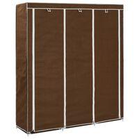 vidaXL barna szövet ruhásszekrény tárolórekeszekkel 150x45x176 cm