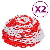 vidaXL 2 db piros és fehér műanyag figyelmeztető lánc 30 m
