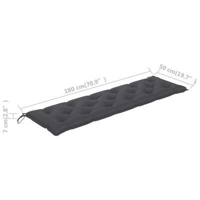 vidaXL tömör tíkfa kerti pad antracitszürke párnával 175 cm