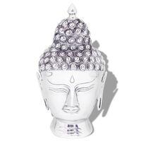 vidaXL falra rögzíthető Buddha fej dekoráció alumínium ezüst