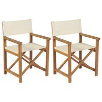 vidaXL 2 db tömör tíkfa összecsukható rendezői szék