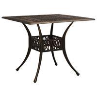 vidaXL bronzszínű öntött alumínium kerti asztal 90 x 90 x 73 cm