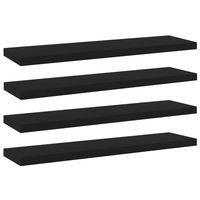 vidaXL 4 db fekete forgácslap könyvespolc 40 x 10 x 1,5 cm