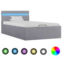 vidaXL világosszürke szövet LED-es ágy hidraulikus tárolóval 90x200 cm
