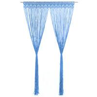 vidaXL kék makramé pamutfüggöny 140 x 240 cm