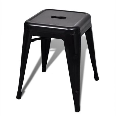 vidaXL 6 db fekete rakásolható acél ülőke
