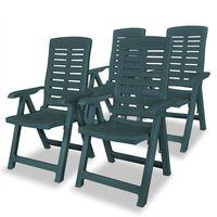 vidaXL 4 db zöld dönthető műanyag kerti szék
