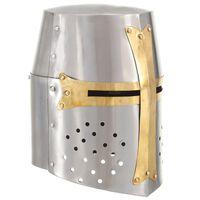 vidaXL ezüst antik középkori keresztes lovagi acélsisak LARP másolat