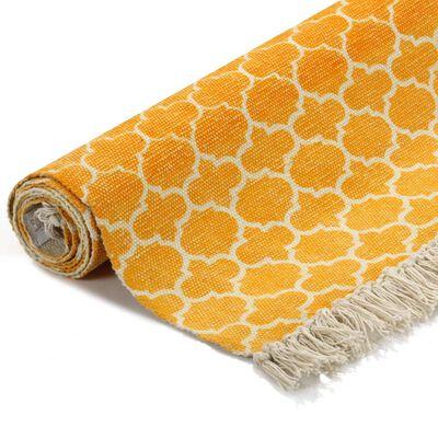 vidaXL citromsárga mintás kilim pamutszőnyeg 120 x 180 cm