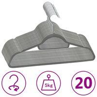 vidaXL 20 db szürke csúszásmentes bársony ruhaakasztó