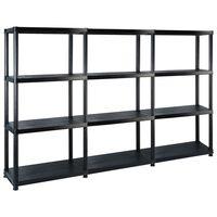 vidaXL fekete műanyag 4 szintes tárolópolc 183 x 30,5 x 130 cm