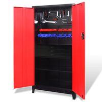 vidaXL piros-fekete acél szerszámszekrény szerszámosládával 90x40x180