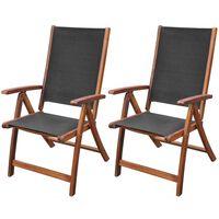 vidaXL 2 db összecsukható tömör akácfa és textilén kerti szék