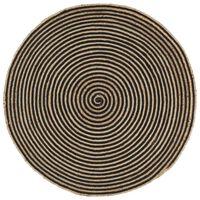 vidaXL kézzel font jutaszőnyeg fekete spirális dizájnnal 120 cm
