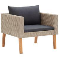 vidaXL egyszemélyes bézs polyrattan kerti kanapé párnákkal