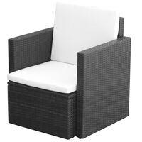 vidaXL fekete polyrattan kerti szék hát- és ülőpárnával