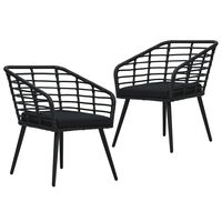 vidaXL 2 db fekete polyrattan kerti szék párnával