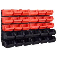 vidaXL 32 darabos piros és fekete tárolódoboz-készlet fali panelekkel