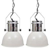 vidaXL 2 db fehér, állítható magasságú, modern, fém mennyezeti lámpa