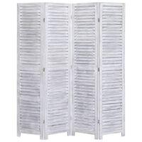 vidaXL szürke 4-paneles faparaván 140 x 165 cm