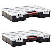 vidaXL 2 db műanyag tárolódoboz állítható elválasztókkal 460x325x80 mm