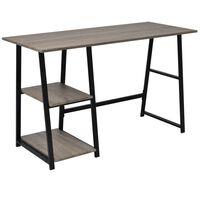 vidaXL szürke, tölgy íróasztal 2 polccal