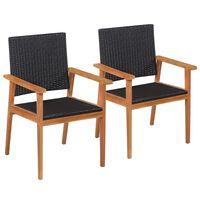 vidaXL 2 db fekete és barna polyrattan kültéri szék
