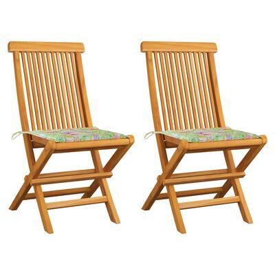 vidaXL 2 db tömör tíkfa kerti szék levélmintás párnával