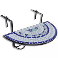 vidaXL kék és fehér mozaik felakasztható erkély asztal
