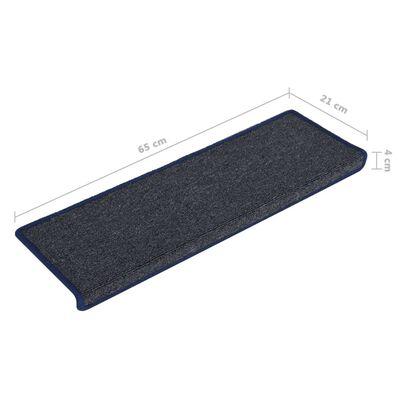 vidaXL 15 db szürke-kék lépcsőszőnyeg 65 x 25 cm