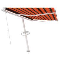 vidaXL narancs és barna kézzel kihúzható póznás napellenző 350x250 cm