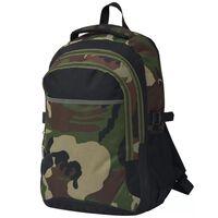 vidaXL 40 literes iskolai hátizsák fekete és terepszínű