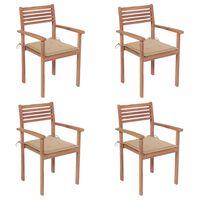 vidaXL 4 db tömör tíkfa kerti szék bézs párnával